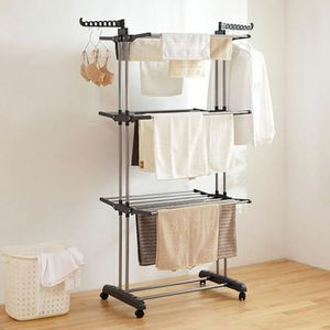 AYNEFY 4 Etage Wäscheständer Standtrockner Kleiderstange Mobiler Wäscheturm klappbar