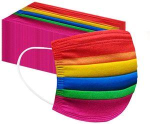 50 Stück Erwachsene Mundschutz mit Motiv Bunt  Mund Nasenschutz Regenbogen Druck Maske Tücher Atmungsaktiv Mund-Tuch Bandana Halstuch Schals