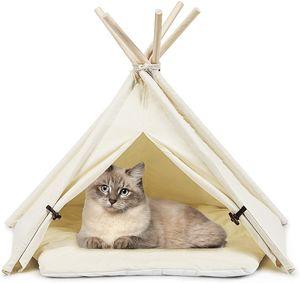 COSTWAY Tipi Tierzelt mit Kissen Hundezelt Katzenzelt Haustierzelt Haustierbett Hundebett Katzenbett für Haustiere