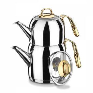 Korkmaz A193 Goldia Teekocher Teekanne 2.5 l Gold Induktion Teapot Caydanlik