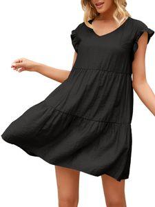 Damen Gekräuselt Kurzärmeliges Minikleid T-Shirt,Farbe: Schwarz,Größe:L