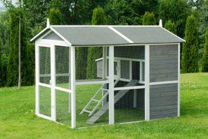 MyAnimal Hühnerstall groß für 7 Hühner MH-15, Hühnerhaus auf 2 qm², mit Auslauf, separates Legenest (Grau)