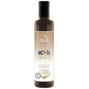 Guru MCT Öl - 500 ml in Glasflasche - 100% C8 & C10 Fettsäuren