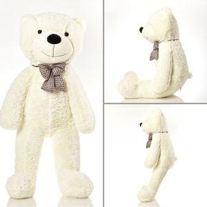 Lumaland Riesen XXL Teddybär Plüsch Kuschelbär mit Knopfaugen 120cm Beige