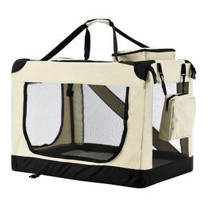 Juskys Hundetransportbox Lassie M (beige) faltbar - 42 x 60 x 44 cm - Hundebox mit Decke, Tasche & Griffen – Stoff Kleintiertasche für Hunde