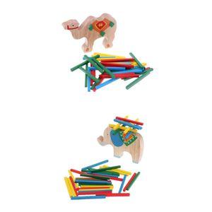 2 Sätze Montessori Tiere mit Bunten Stäbchen Stapel Stapelspiel Balancierspiel Spielzeug aus Holz zum Geschicklichkeit