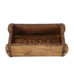 Holzbox BRICK braun aus recyceltem Holz Pflanzkasten Ziegelform Holzkiste K
