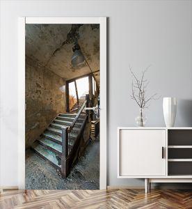 MyMAXXI | Tür verschönern mit Türtapete Selbstklebend 90x200 Alte Treppe | Türfolie Poster Tapete | Selbstklebende Türaufkleber XXL Aufkleber Folie| Türposter Mädchen und Junge