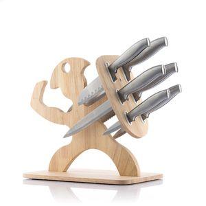 Messerblock 6 Messer Messerhalter Küchenmesser Holz Kochmesser Messerset Bestückt Set Universal Teilig Holzblock Brotmesser Classic
