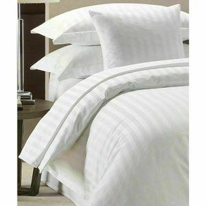 Highliving 100 %Luxus Hotel Qualität Deckenbezug-Set weiß, 300 TC, SatinStreifen 200CMX200CM