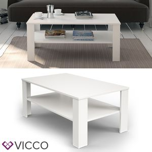 Vicco Couchtisch Weiß 100x60cm Wohnzimmertisch Beistelltisch Holz Lack Matt