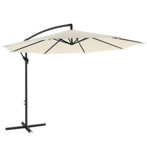 SONGMICS Sonnenschirm, Ampelschirm Ø 300 cm, UV-Schutz bis UPF 50+, mit Kurbel zum Öffnen und Schließen, Sonnenschutz, Gartenschirm, beige GPU016M01