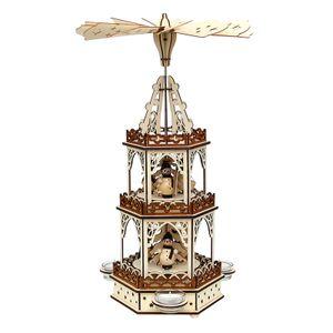 52 1672 Holz Teelichtpyramide 3 Etagen Schneemänner SIGRO