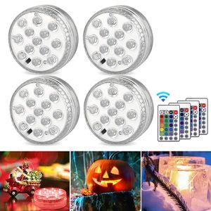 4 Stücke Unterwasser LED Leuchten Wasserdichtes Aquarium LED Dekorative Lichter mit Fernbedienung