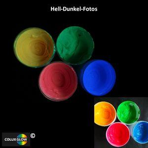 ColuxGlow Textil-Nachtleuchtfarbe SET 4 x   100 ml - Nachleuchtfarbe, Glow-in-the-Dark Farbe, Textilfarbe Gelb, Grün, Rot, Blau
