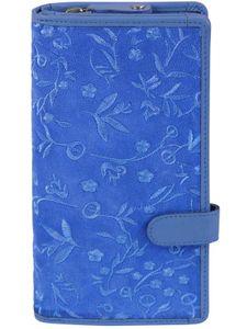 große Damenbörse mit Stickerei und RFID Schutz, Farben:blau