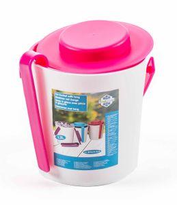 Eiskübel von Fresh & Cold mit Zange, Henkel und Deckel, doppelwandig, Größe ca. 16,2 x 14 cm, Farbe Weiß/Pink