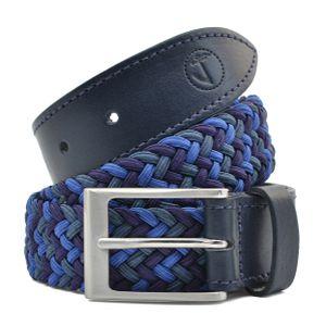 Herren Seajure Elastic Geflochtener Stoff und Ledergürtel Marineblau, Größe 105