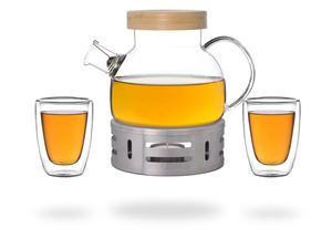 Kira Teeset / Teeservice / Teekanne Glas 900ml mit Tüllensieb, Bambusdeckel, Stövchen und 2 doppelwandige Teegläser je 200ml