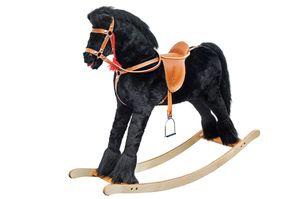 Großes klassisches Schaukelpferd Holzpferd Plüschpferd - schwarz 96-113