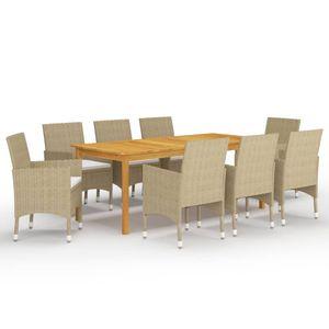 Gartenmöbel Essgruppe 8 Personen ,9-TLG. Terrassenmöbel Balkonset Sitzgruppe: Tisch mit 8 Stühle Beige❀3703