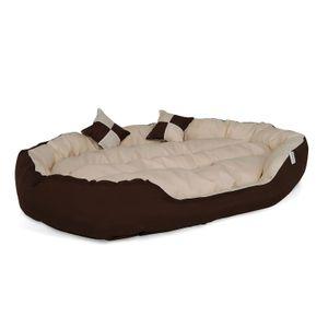 dibea 4-in-1 Hundebett, Hundekissen, Hundekörbchen mit Wendekissen, braun/beige, Größe L