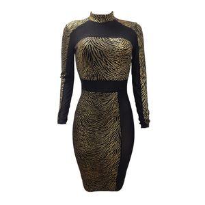 y Frauen Metallic Pailletten Kleid Sheer Mesh Langarm High Neck Bodycon Party Club Kleid Gold (L)