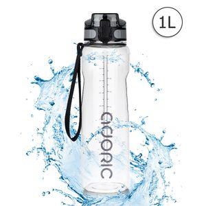 ADORIC Sport Trinkflasche, [BPA Frei Tritan] 1L Auslaufsicher Kunststoff Wasserflasche Sport, Sportflasche Fahrrad für Camping Freien, Outdoor, Yoga, Gym,Transparent