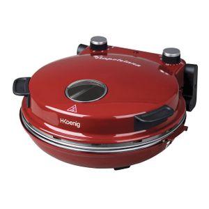 H.Koenig Pizzaofen Napoletana NAPL350  mit Keramik-Steinplatte - Farbe: Rot - Für Pizzen bis zu 32 cm geeignet