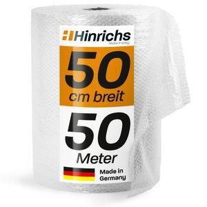 Hinrichs 50 m Rolle Luftpolsterfolie - Bubble Wrap zum Verpacken - Noppenfolie für Umzug Renovieren