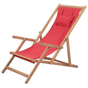 Hochwertigen Klappbarer Strandstuhl/Relaxliege/Strandliege/Gartenliege Stoff und Holzrahmen Rot #DE5717