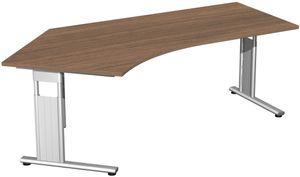 """Schreibtisch """"FLEX"""", höhenverstellbar, 216,6 cm x 113 cm, Nussbaum"""