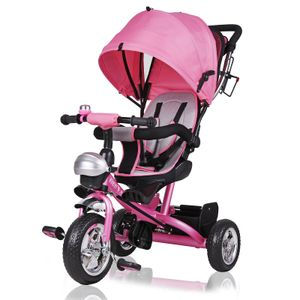 DEUBA® Dreirad Kinderdreirad Kinder Lenkstange Dach Fahrrad Baby Kinderwagen, Farbe:Pink_2020