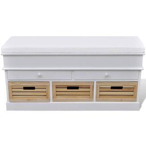vidaXL Flurbank mit Stauraum und Sitzpolster Weiß 2 Schubladen 3 Kisten