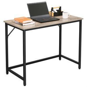 VASAGLE Schreibtisch 100 x 50 x 75 cm | Computertisch einfacher Aufbau schmaler Bürotisch Metall Industrie-Design greige-schwarz LWD041B02