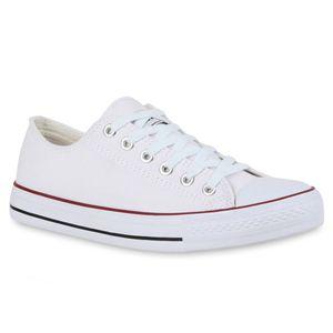 Mytrendshoe Herren Sneakers Sportschuhe Stoffschuhe Schnürer 94238, Farbe: Weiß Rotstreifen Lucky, Größe: 45