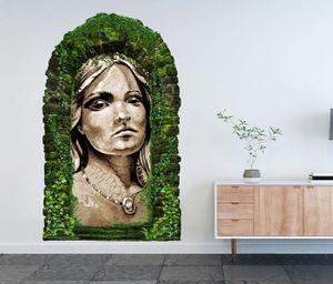 3D Wandtattoo Garten Tor Dschungel Indianer Frau Häuptling Kopf Squaw  Schmuck Kunst Malerei Feder Pflanzen Tür Gewölbe Wand Aufkleber Wandsticker 11FB667, Größe in cm:97cmx160cm