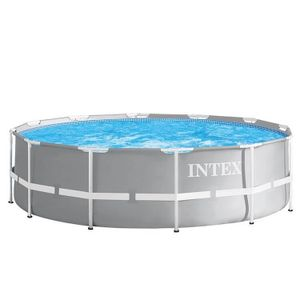 Intex RahmenSwimmingpool mit Filterpumpe + Leiter Prism Frame Ø366 x 99 cm grau
