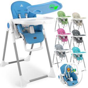 KIDIZ® 3in1 Hochstuhl Kinderhochstuhl inkl. Spielbügel , Babyliege , Kombihochstuhl Babyhochsitz ,7 höhenverstellbar Verstellbare Rückenlehne , mitwachsend ab 0 Monate bis 6 Jahre Babystuhl, Farbe:Dunkelgrau