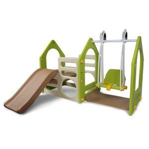 eyepower Kinder-Spielhaus mit Rutsche und Schaukel Kunststoff Spielturm und Kletterturm für Drinnen und Draußen 155 x 135 cm