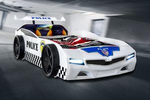 Autobett Police Polizei Kinderbett in weiß mit LED und blinkendem Blau-Rotlicht 90x190 cm
