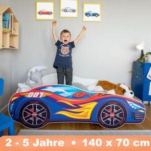 Alcube Kinderbett Autobett PKW Burning Flame 70x140 cm mit Matratze und Lattenrost Racing Car Spielbett MDF Massiv beschicht Blau