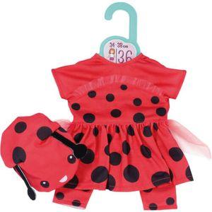 ZAPF 870938 Dolly Moda Süßes Marienkäfer Outfit 36 cm