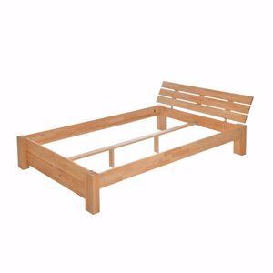 acerto® - Diego Massiv-Holzbett aus Buchenholz mit Bettkasten Elegantes Buchebett mit Kopfteil und Rollrost 180 x 200 cm