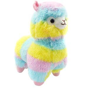 Kleine niedliche Regenbogen-Schaf-Alpaka-Pluesch-Puppe