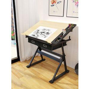 Zeichentisch mit 2 Schubladen  für Kunst, Design, Schreiben, Malen, Basteln, Technisches Zeichnen(Kein Stuhl)