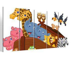 Leinwandbilder 5 teilig XXL 200x100cm Kinderzimmer Tiere Afrika Boot Kat2 Giraffe Zebra Zoo Druck auf Leinwand Bild 9BM794