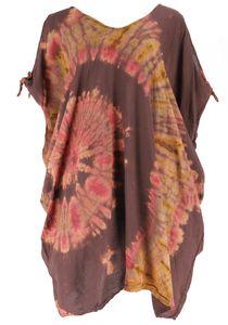 Plus Size Batik Kaftan, Strandkleid, Tunika für Starke Frauen - Cappuccino, Damen, Braun, Viskose, Kurze Kleider