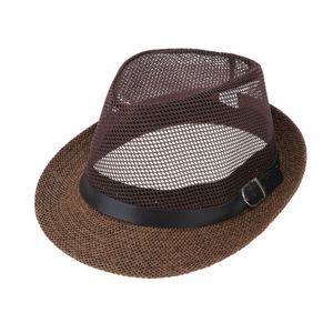 Männer Frauen Mesh Panama Hüte Fedora Trilby Caps Strand Stroh Sonnenhut Kurzer Krempe Farbe Kaffee