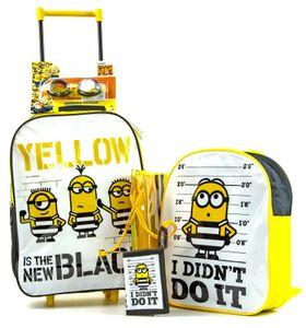 5 Teiliger Trolley im Minions Look | Reise Koffer für Kinder | Reisetasche | Rollkoffer | Rucksack | Turnbeutel | Portmonee | Schwimmbrille | Handgepäck Flugzeug | gelb schwarz |